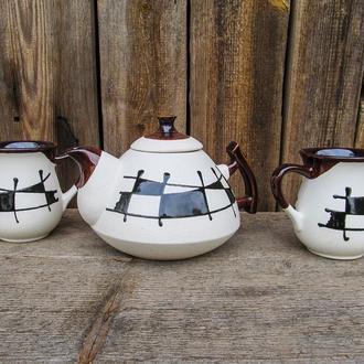 """Чайний набір, декор """"Ґаларетка"""" чорно-білий на 2 особи"""