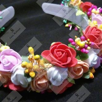 Пышный венок / ободок с розами