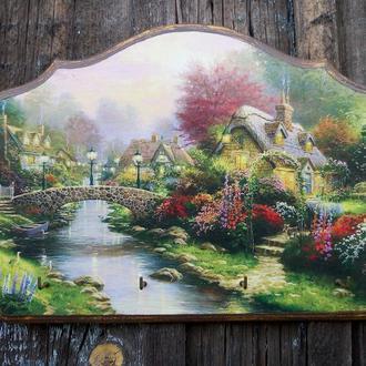 Ключница настенная декоративная в прихожую Летний пейзаж Вешалка для ключей Томас Кинкейд