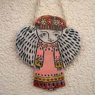 Керамический ангел подвеска. Декор дома. Рождественский подарок