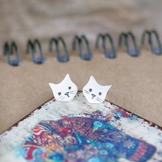 Серьги пуссеты коты