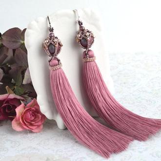 Розовые серьги-кисти, серьги античная роза, серьги в подарок