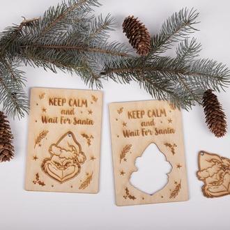 Новогодняя деревянная открытка с 3d деталями