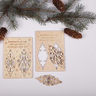 Новорічна дерев'яна листівка з 3d деталями