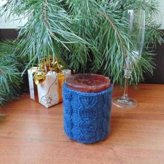 В'язаний новорічний чохол для свічки,декор свічки,футляр для свічки