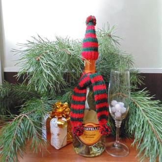 Новогодний декор для шампанского или вина шапка и шарф