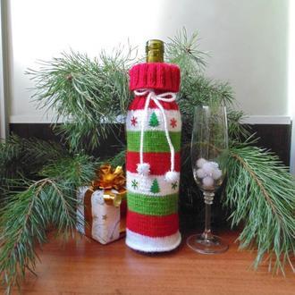 Новорічний аксесуар для пляшки,винний декор,чохол для пляшки вина
