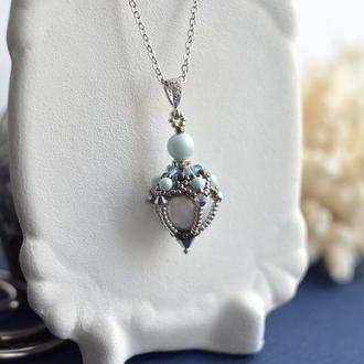 Жемчужный кулон, серебристый кулон , подвеска с жемчугом, серебро, Свадебное украшение