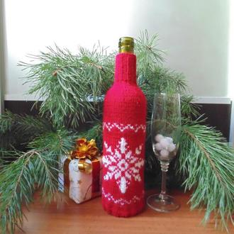 Новогодний аксессуар для бутылки,винный декор,чехол для бутылки вина