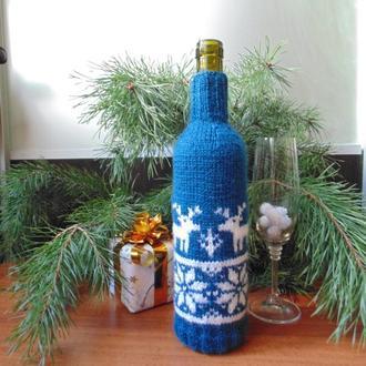Новогодний свитр на бутылку,винный декор,аксессуар для бутылки вина