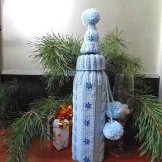 Новогоднее украшение на бутылку свитр и шапка Санта