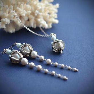 Комплект украшений серьги и кулон , свадебные украшения, свадебные серьги