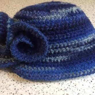 "Вязаная шляпка ""Синева"""