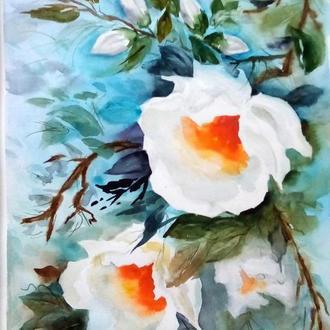 """Картина акварель """"Сияние белых цветов"""" 40 х 30 см"""
