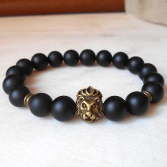 Мужской браслет шунгит cо львом
