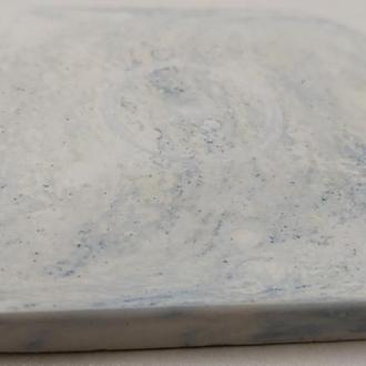 Подставка под горячее квадратная - белый с голубым