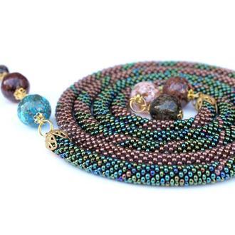 Украшение из бисера с разноцветными бусинами мурано. Вязание с бисером. Аксессуар. Длинное украшение