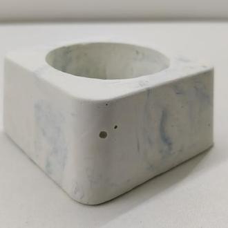 Подсвечник из бетона - белый с голубым (квадрат)
