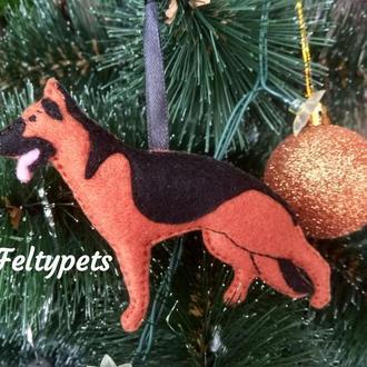 Немецкая овчарка игрушка на елку, овчарка в стойке