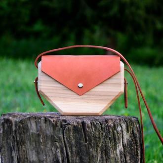 """Женская деревянная сумка """"Колосья"""""""
