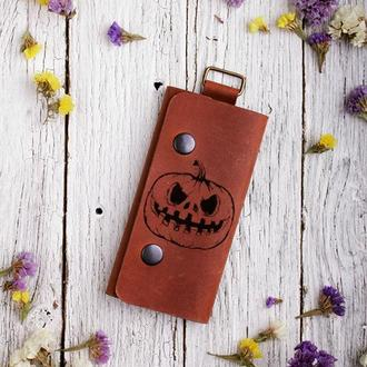 Кожаная ключница с гравировкой Хеллоуин