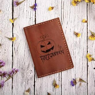Обложка для паспорта с гравировкой Хеллоуин