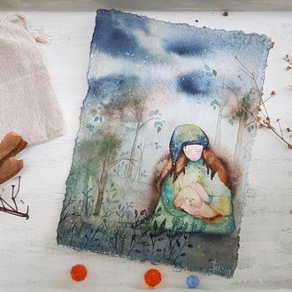 Листiвка, iлюстрацiя акварельна. Авторська робота. Открытка - иллюстрация (акварель).