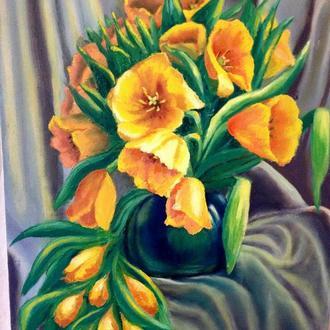Желтые тюльпаны, картина маслом на холсте