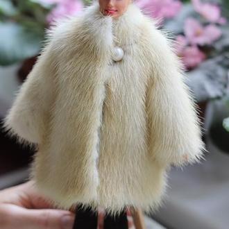 Шубка для куклы Барби из жемчужной норки