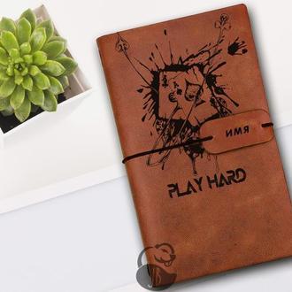 Покер, Блокнот из кожи, Блокнот а5, Записная книжка, Скетчбук, Подарок для игрока, Мужской блокнот