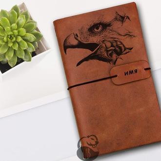 Блокнот с орлом, Блокнот из кожи, Блокнот а5, Записная книжка, Скетчбук, Мужской блокнот