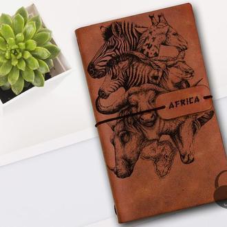 Блокнот с животными, Блокнот из кожи, Блокнот а5, Записная книжка, Скетчбук, Подарок для девушки