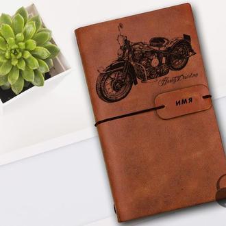 Харли Девидсон, Блокнот из кожи, Блокнот а5, Записная книжка, Скетчбук, Подарок для байкера