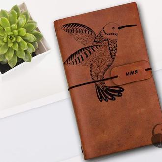 Колибри, Блокнот из кожи, Блокнот а5, Записная книжка, Скетчбук, Подарок для девушки