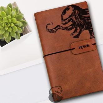 Веном, Блокнот из кожи, Блокнот а5, Записная книжка, Скетчбук, Блокнот с гравировкой, Личный дневник