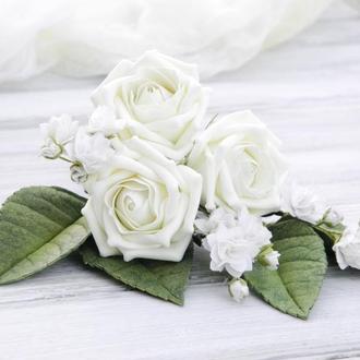 Цветы в прическу невесты, Шпильки с цветами Poзы и гипсофилы, Красивая заколка девушке на подарок