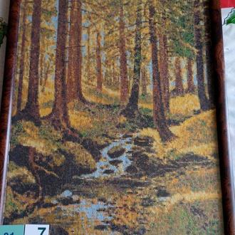 Вышивка крестом. Картины в рамке. 01-7 Осенний лес .