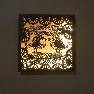 Декоративная настенная лампа, настольная лампа ночник, лампа с птичками