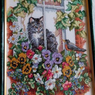 Вышивка крестом. Картины в рамке. 01-9 Весенний вид.