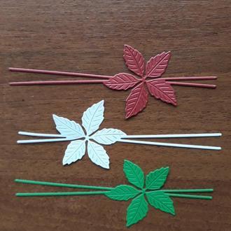 Бумажная вырубка веточка пуантессии, Рождественский цветок