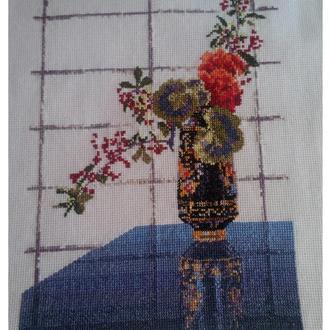 Вышивка крестом. Мулине.06-16 Ваза в национальном стиле. без рамки