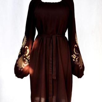Вышиванка/вишиванка сукня/платье/туніка шоколад/коричневий