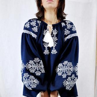 """Вышиванка/вишиванка блуза/сорочка синє/cинее """"Згард"""""""