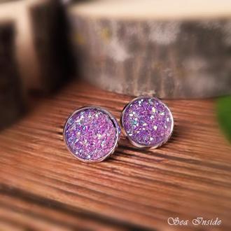 Сережки-пусети Фіолетовий блиск / Серьги-пуссеты Фиолетовый блеск