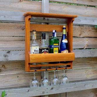 Деревянная полка для 4 бутылок с держателем для бокалов