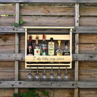 Винная полка на 6 бутылок и бокалов