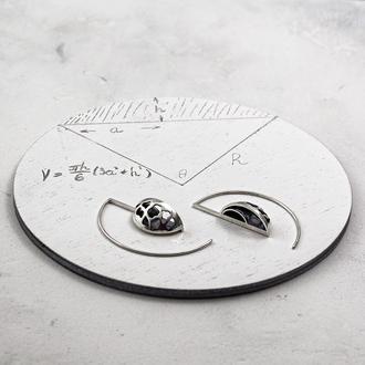 Серебряные Ажурные серьги. Коллекция Сегменты