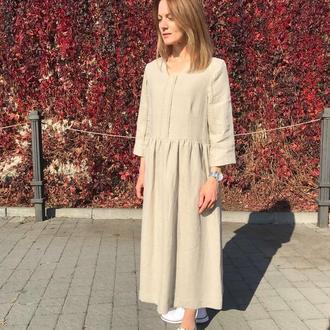 Льняное платье oversize с кружевом