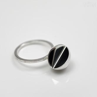 Серебряное кольцо Двойное. Коллекция Сегменты