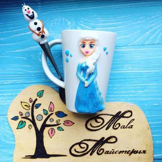 """Чашка с декором из полимерной глины """"Холодное сердце"""""""